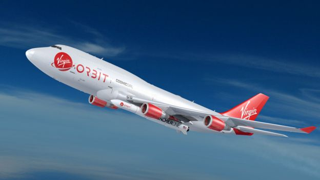 Artist's impression of Virgin Orbit's Boeing 747-400 carrier aircraft with LauncherOne rocket on inside port wing