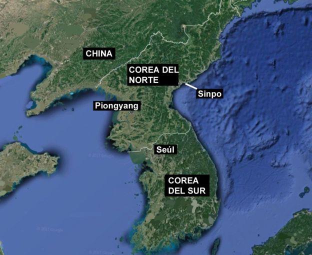Mapa de la península de Corea