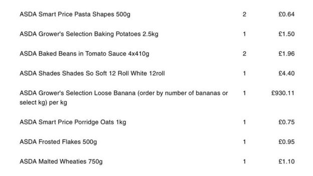 Shopping receipt of bananas costing over £930