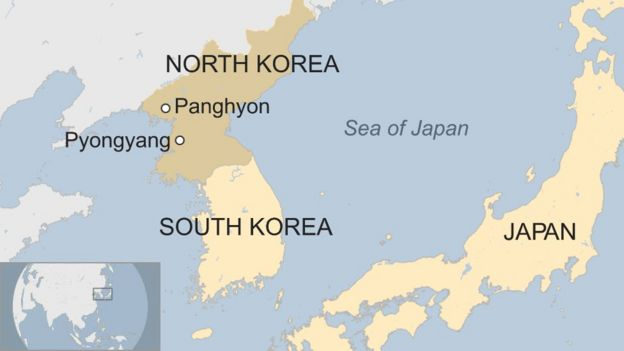 Ramani ya Korea Kaskazini na Japan
