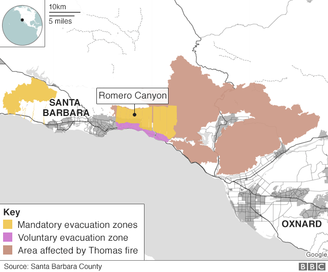 graphic showing mandatory evacuation zones east of Santa Barbara, and huge swath of land affected by Thomas wildfire