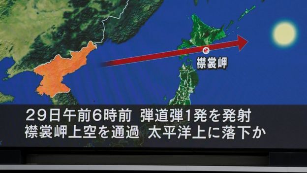 A TV screen in Tokyo, Japan, display a projected path of the North Korean IRBM, 14 September 2017