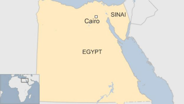 map of Egypt showing Cairo and Sinai peninsula