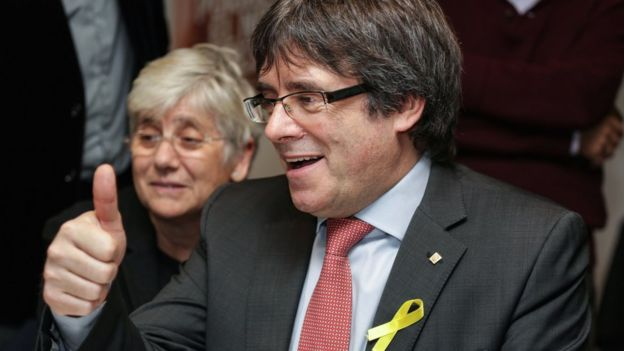 Carles Puigdemont watches results in Brussels