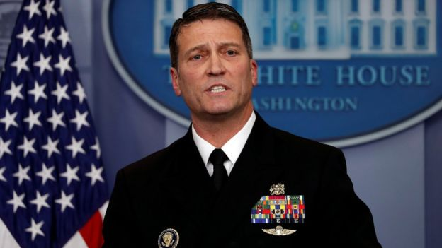 White House physician Ronny Jackson answers question about US President Donald Trump's health after the president's annual physical at the White House in Washington, 16 January 2018