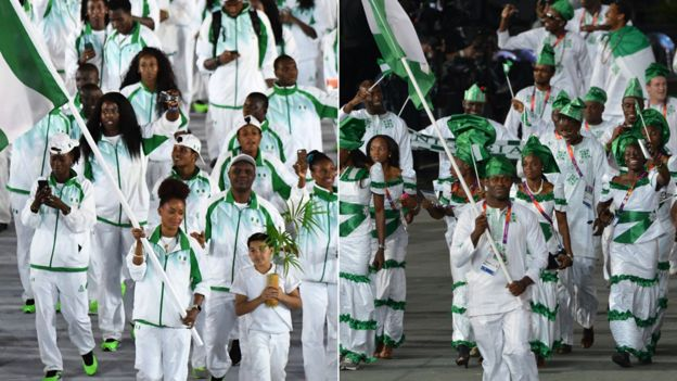 Nigeria team at opening ceremony in Rio 2016, left and London 2012, right