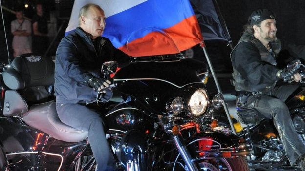 Vladimir Putin at a motorcycle rally in 2011
