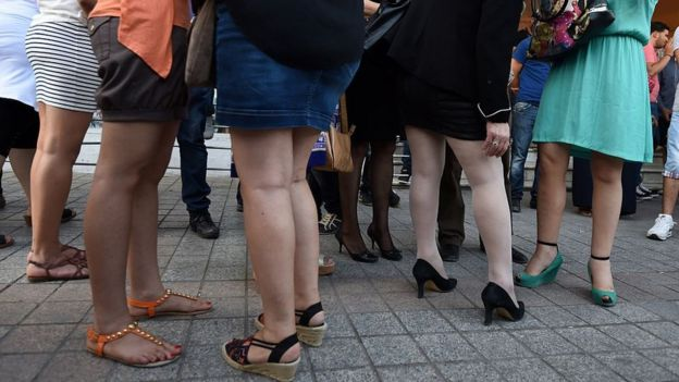 Tunisian women wear skirts during a demonstration titled the 'international day of the mini skirt' which aims to be a show of solidarity with Algerian women and of defiance against the extremists on June 6, 2015
