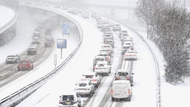 Carreteras congestionadas en Glasgow.