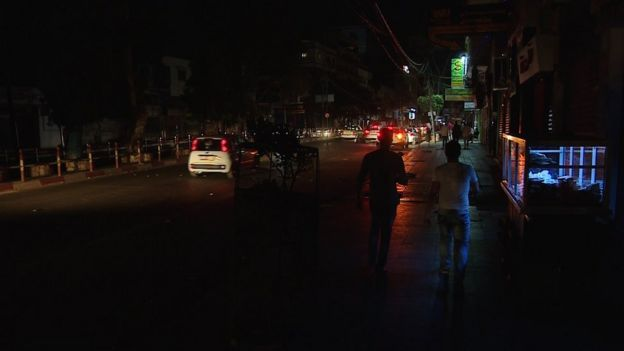 Unlit street in the Gaza Strip at night