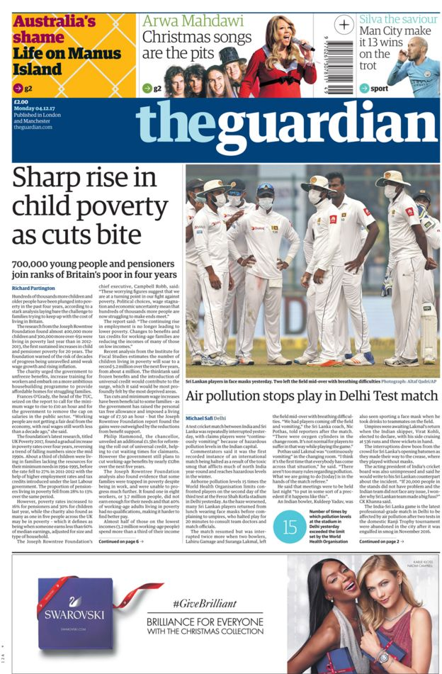 Guardian front page - 04/12/17