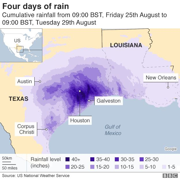 Map of rainfall in Texas and Louisiana