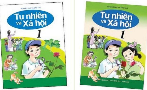 Suggested changes for a textbook, with a girl and a boy on the cover doing science