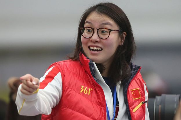 Fu Yuanhui of China reacts before her match of Women's 100m Individual Medley on day two of the FINA swimming world cup 2016 at Water Cube on 1 October 2016 in Beijing, China. (