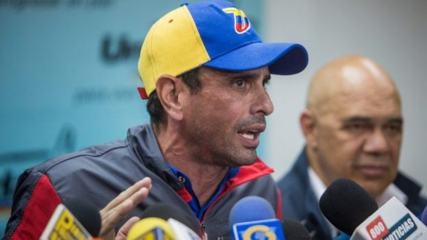 Venezuelan opposition leader and Governor of Miranda state Henrique Capriles in Caracas, 9 August 2016