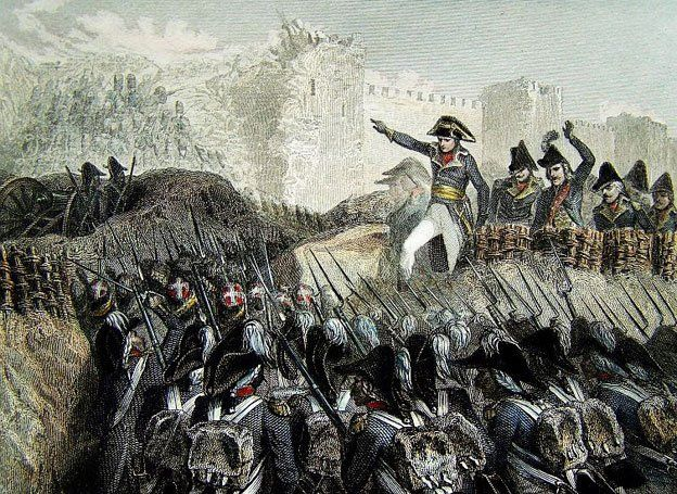 Napoleon leading the troops in the battle for the port of Acre.