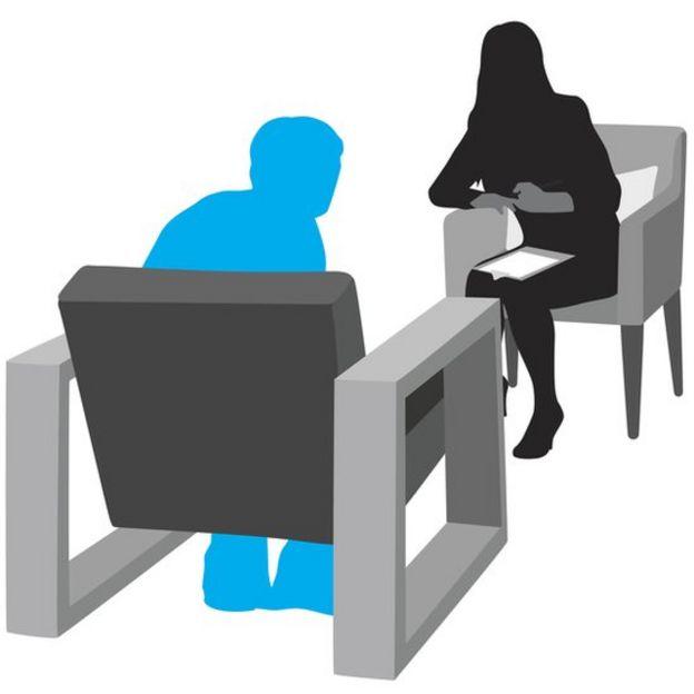 Ilustración de una psicóloga y un paciente. (Imagen: iStock/BBC)