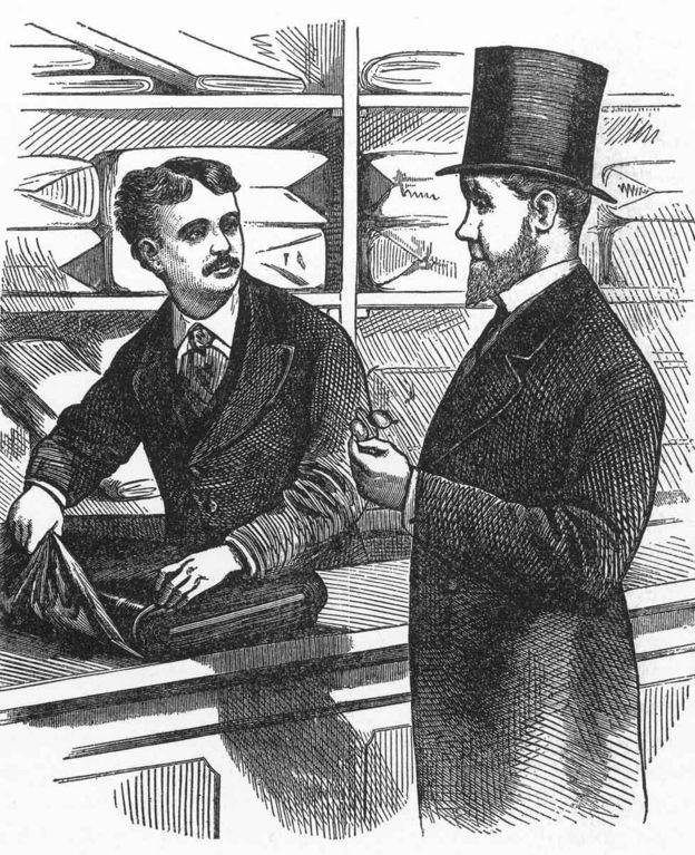 Гравюра с изображением Стюарта в его магазине в 1876 году