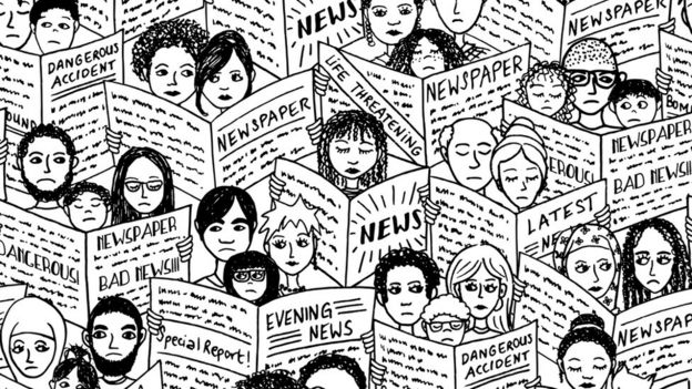 Ilustración de gente leyendo periódicos (Imagen: frimages / Getty)