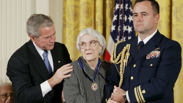 Harper Lee with George Bush