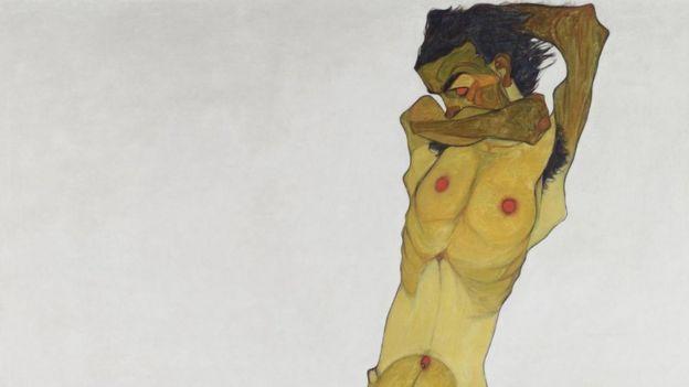 席勒对自己裸体的描绘和怪诞表现在艺术史上是前所未有的。