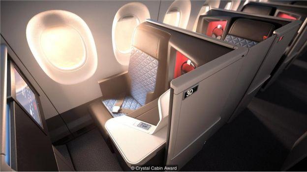 Parte interior de un avión.
