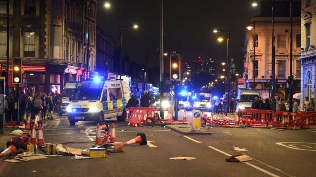 The protest scene in Hackney