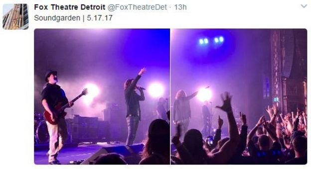 Cornell'in grubuyla konser verdiği Fox Tiyatrosu'nun resmi twitter hesabından konserin fotoğrafları paylaşılmıştı.