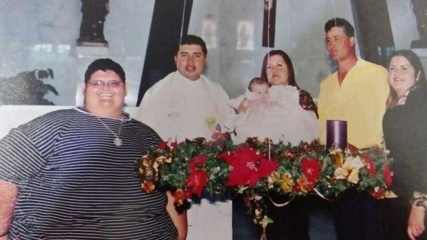 Juan Pedro com a família quando era adolescente