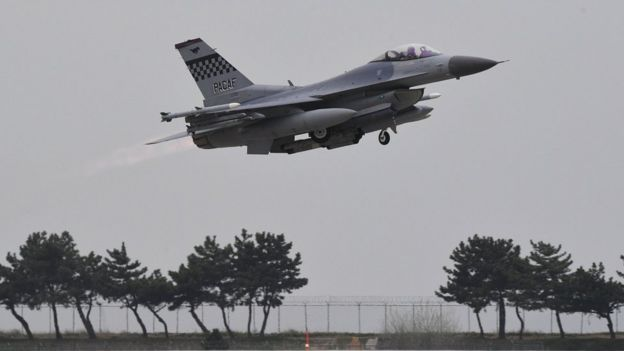 A South Korean F-15K jet fighter takes off during the 'Max Thunder' South Korea-US military joint air exercise at a US air base in the southwestern port city of Gunsan