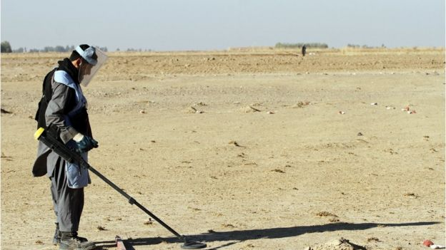 An Afghan de-miner searches for land mines in the Zhari district of Kandahar, Afghanistan on 9 January 2017