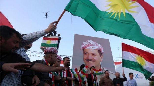 Manifestación de kurdos iraquíes en Irbil