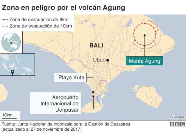 Mapa de la zona en peligro por el volcán Agung