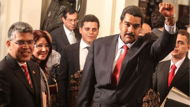 Elías Jaua, Cilia Flores, Temir Porras y Nicolás Maduro