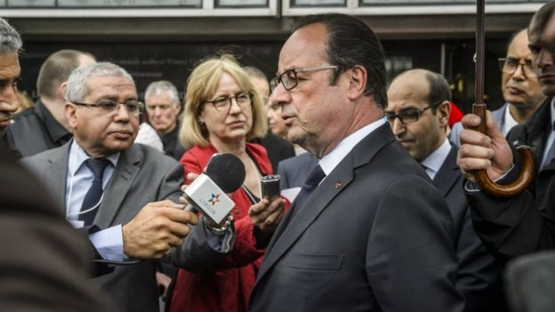 Mr Hollande was speaking as he visited a cultural institute in Paris on Saturday with Morocco's King Mohammed VI