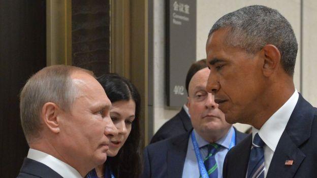 Russian President Vladimir Putin at US President Barack Obama at the G20 summit in China last September
