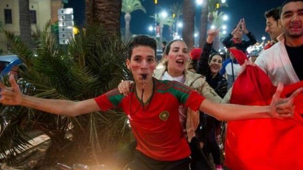 Les manifestations consécutives à la qualification du Maroc étaient joyeuses pour la plupart. C'était le cas à Marrakech.