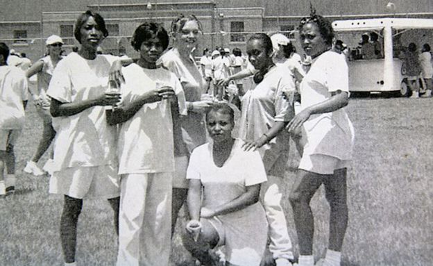 Angela, third from left, became friends with a group of Jamaican women in prison