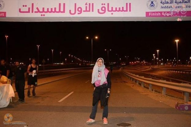 Race organiser Nadima Abu Al-Enein posing for a photo in the finishing line
