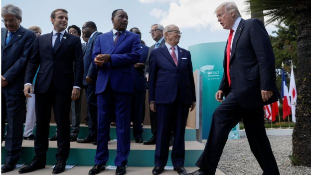 U.S. President Donald Trump arrives next to R-L: Tunisia