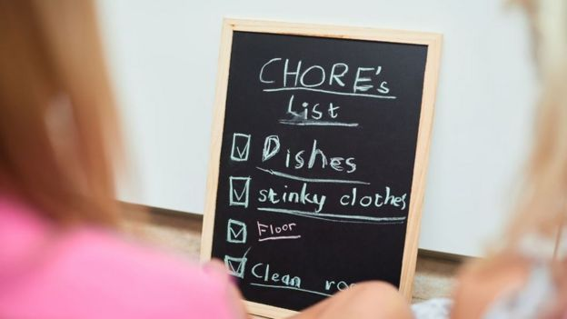 A blackboard with a list (in child's writing) of chores to do: Dishes; Stinky clothes etc