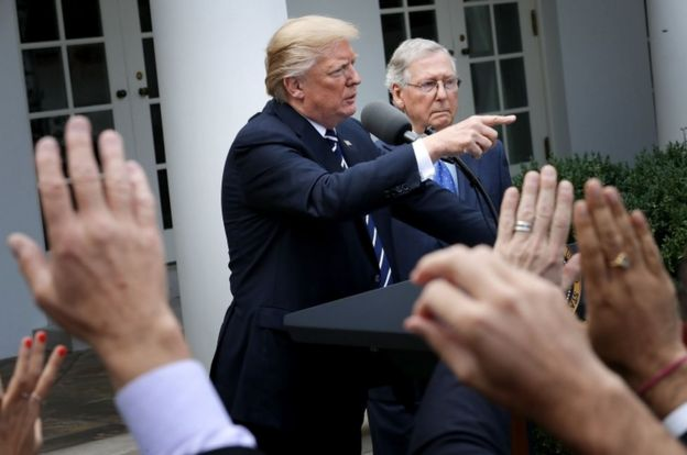 President Donald Trump and Senator Mitch McConnell at the White House on Monday