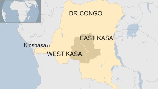 Map showing East and West Kasai in DR Congo