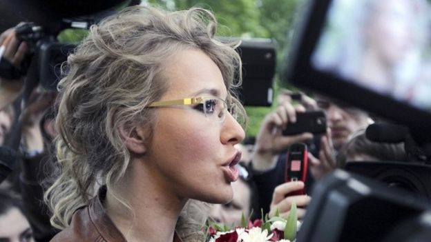 TV host and opposition activist Ksenia Sobchak during a protest against the inauguration of Vladimir Putin, in Moscow (11 May 2012)