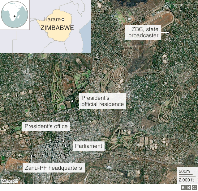 Map of Harare showing key locations inc President's residence