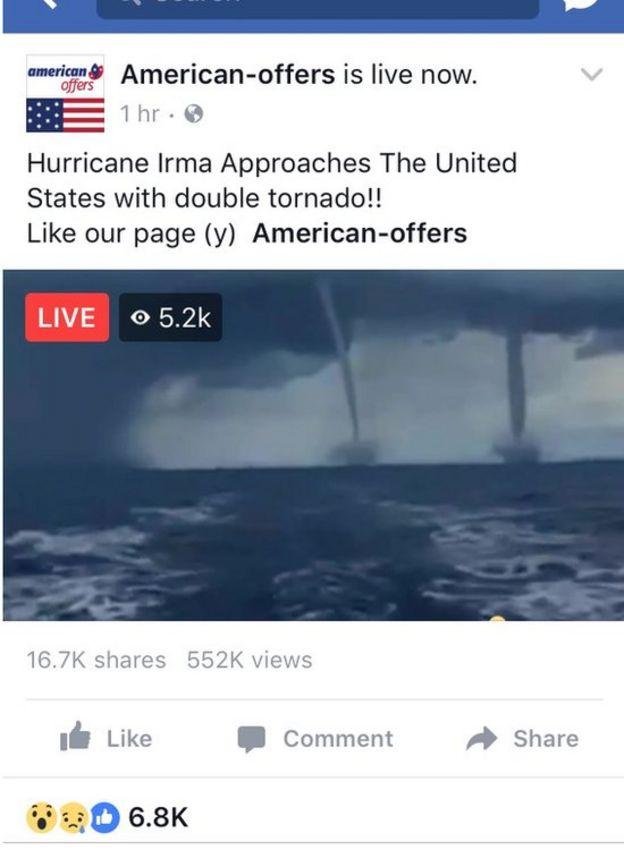 Este Facebook Live no es en realidad de Irma, sino de un evento ocurrido hace más de 10 años.