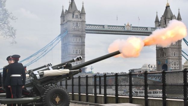 The Honourable Artillery Company fire a 62 gun salute at the Tower of London