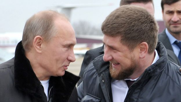 Chechen leader Ramzan Kadyrov (R) and Russian President Vladimir Putin, 20 Dec 11