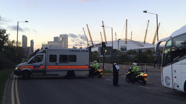 Police around North Greenwich