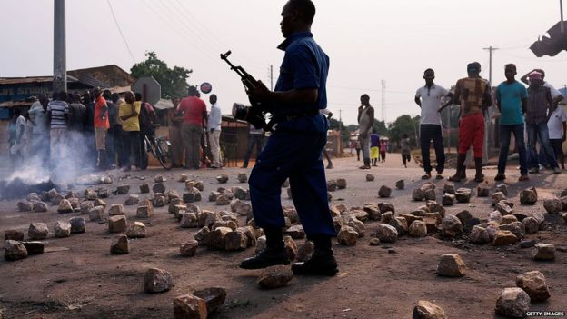 Policeman at Burundi protests